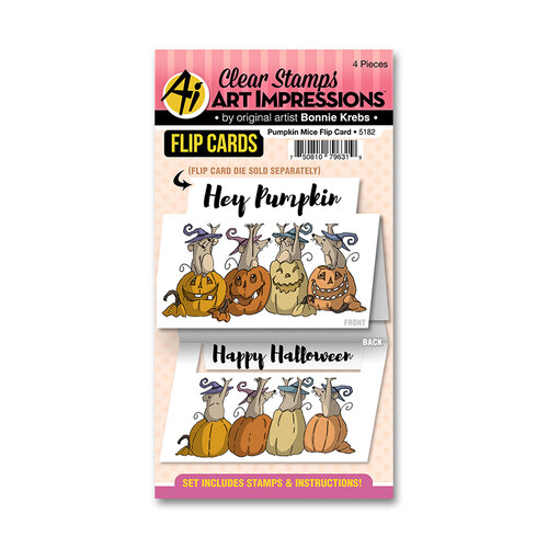 Art Impressions - Halloween - Flip Card Collection - Clear Photopolymer Stamps - Pumpkin Mice