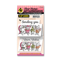 Art Impressions - Flip Card Collection - Clear Photopolymer Stamps - Christmas Kitty