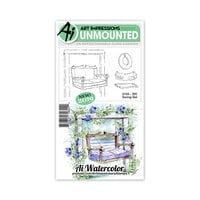 Art Impressions - Watercolor Collection - Unmounted Rubber Stamp Set - Swing