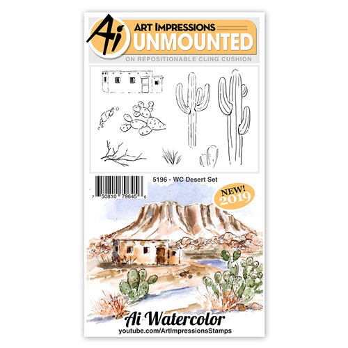 Art Impressions - Watercolor Collection - Unmounted Rubber Stamp Set - Desert