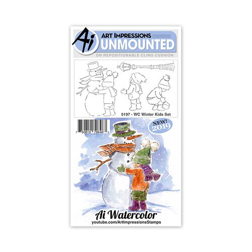 Art Impressions - Christmas - Watercolor Collection - Unmounted Rubber Stamp Set - Winter Kids