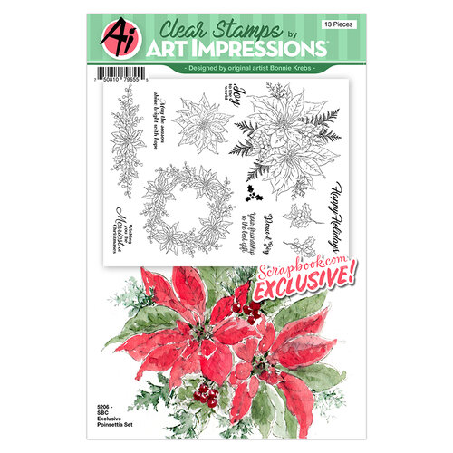 Art Impressions - Clear Photopolymer Stamp Set - Watercolor Poinsettia