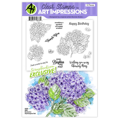 Art Impressions - Clear Photopolymer Stamp Set - Hydrangeas
