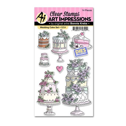 Art Impressions - Basics Collection - Stamp and Die Set - Wedding Cake
