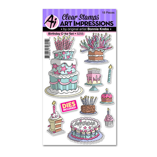 Art Impressions - Basics Collection - Stamp and Die Set - Birthday Cake