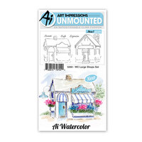 Art Impressions - Watercolor Collection - Unmounted Rubber Stamp Set - Large Shops