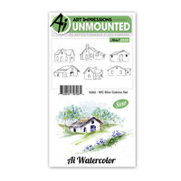 Art Impressions - Watercolor Collection - Unmounted Rubber Stamp Set - Mini Cabins