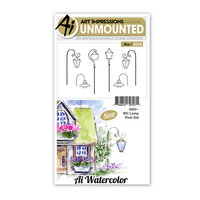 Art Impressions - Watercolor Collection - Unmounted Rubber Stamp Set - Lamp Post