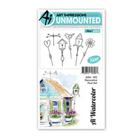 Art Impressions - Watercolor Collection - Unmounted Rubber Stamp Set - Decorative Post
