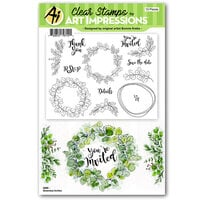 Art Impressions - Florals Collection - Clear Photopolymer Stamps - Greenery Invites