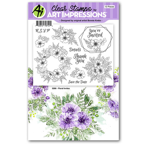 Art Impressions - Florals Collection - Clear Photopolymer Stamps - Floral Invites