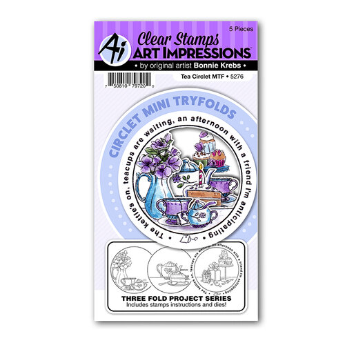 Art Impressions - Circlets Mini Tryfolds Collection - Clear Photopolymer Stamps - Tea