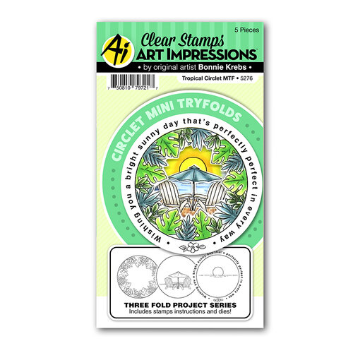 Art Impressions - Circlets Mini Tryfolds Collection - Clear Photopolymer Stamps - Tropical