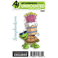 Art Impressions - Unmounted Clear Stamp - Exclusive Turtle with Cake