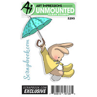 Art Impressions - Unmounted Clear Photopolymer Stamp - Exclusive - Spring - Rainy Days Bunny
