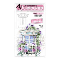 Art Impressions - Watercolor Collection - Stamp and Die Set - Ornate Window