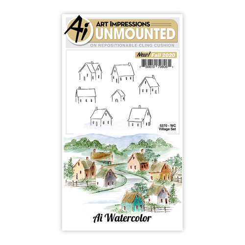 Art Impressions - Watercolor Collection - Unmounted Rubber Stamp Set - Village