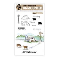 Art Impressions - Watercolor Collection - Unmounted Rubber Stamp Set - Barn
