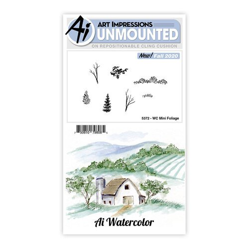 Art Impressions - Watercolor Collection - Unmounted Rubber Stamp Set - Mini Foliage
