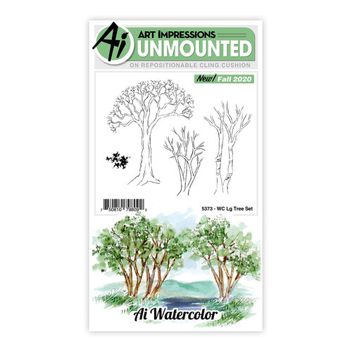 Art Impressions - Watercolor Collection - Unmounted Rubber Stamp Set - Large Tree