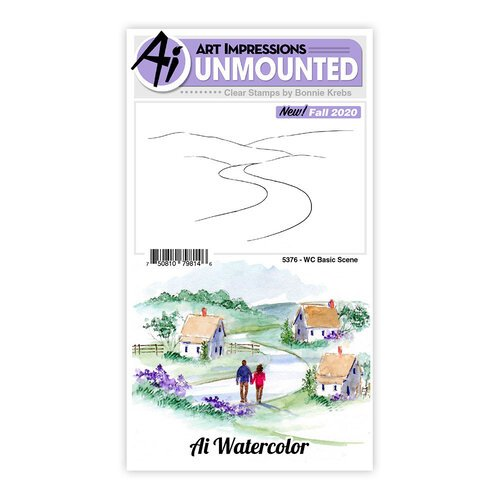 Art Impressions - Watercolor Collection - Clear Photopolymer Stamps - Basic Scene