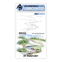 Art Impressions - Watercolor Collection - Clear Photopolymer Stamps - Stone Creek Scene