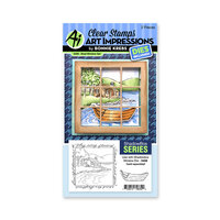 Art Impressions - Windows to the World Collection - Stamp and Die Set - Boat Window Accessory Set