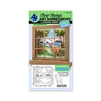 Art Impressions - Windows to the World Collection - Stamp and Die Set - Deer Window Accessory Set
