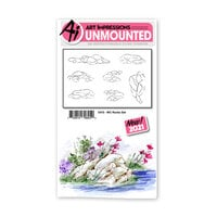 Art Impressions - Watercolor Collection - Unmounted Rubber Stamp Set - Rocks Set