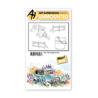 Art Impressions - Watercolor Collection - Unmounted Rubber Stamp Set - Vintage Car