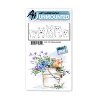 Art Impressions - Watercolor Collection - Unmounted Rubber Stamp Set - Peeking Animals