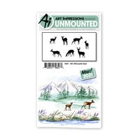 Art Impressions - Watercolor Collection - Unmounted Rubber Stamp Set - Silhouette Deer