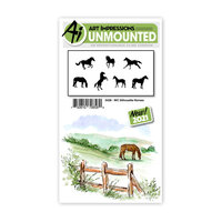 Art Impressions - Watercolor Collection - Unmounted Rubber Stamp Set - Silhouette Horses