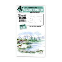 Art Impressions - Watercolor Collection - Unmounted Clear Stamp Set - Simple Scene Lake