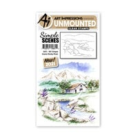 Art Impressions - Watercolor Collection - Unmounted Clear Stamp Set - Simple Scene Rocky River