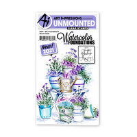 Art Impressions - Watercolor Foundations Collection - Clear Photopolymer Stamps - Wood Table