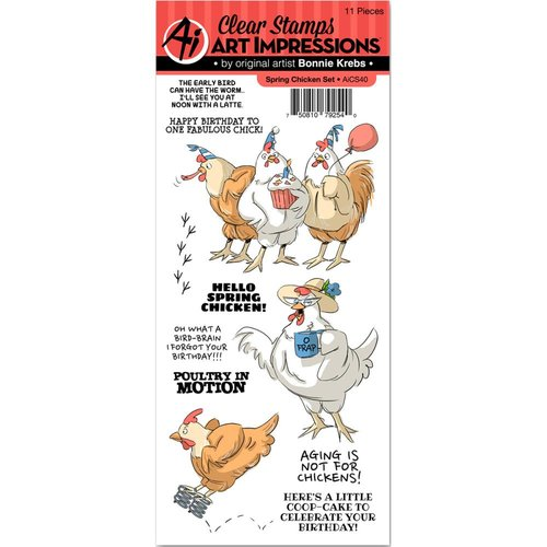 Art Impressions - Funny Farm Collection - Clear Photopolymer Stamp Set - Spring Chicken