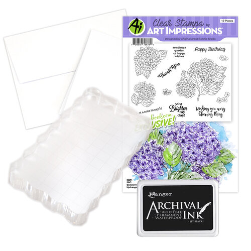 Art Impressions - Clear Photopolymer Stamp Set - Hydrangeas Card Making Bundle Four