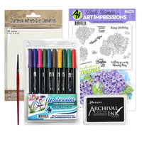 Art Impressions - Clear Photopolymer Stamp Set - Hydrangeas Watercoloring Bundle