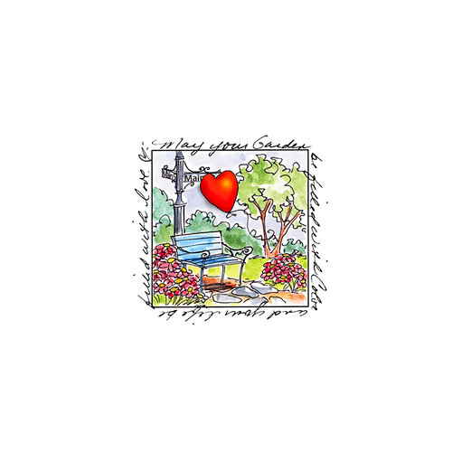 Art Impressions - Windows to the World Collection - Unmounted Rubber Stamp Set - Heart in the Park