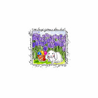 Art Impressions - Windows to the World Collection - Unmounted Rubber Stamp Set - Bunny in Tulips