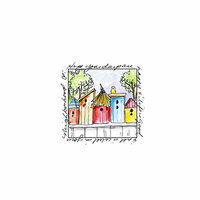 Art Impressions - Windows to the World Collection - Unmounted Rubber Stamp Set - Birdhouse Neighborhood