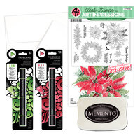 Art Impressions - Clear Photopolymer Stamp Set - Watercolor Poinsettia Card Making Bundle One