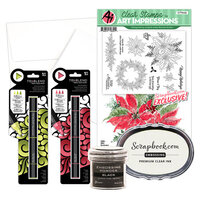 Art Impressions - Clear Photopolymer Stamp Set - Watercolor Poinsettia Card Making Bundle Three