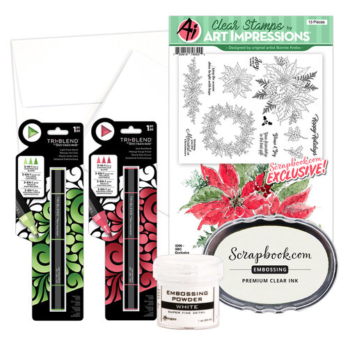 Art Impressions - Clear Photopolymer Stamp Set - Watercolor Poinsettia Card Making Bundle Two