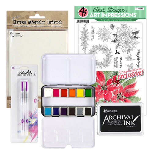 Art Impressions - Clear Photopolymer Stamp Set - Watercolor Poinsettia Watercoloring Bundle One