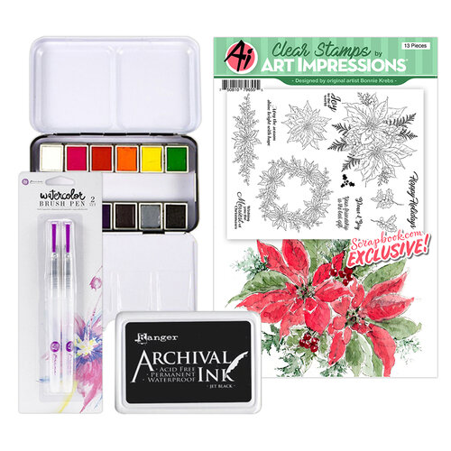 Art Impressions - Clear Photopolymer Stamp Set - Watercolor Poinsettia Watercoloring Bundle Two