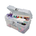 Craft Design - Art Supply Box - 14 Inches - Clear with Purple Handle