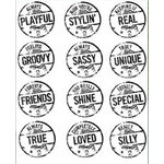 Autumn Leaves - Clear Stamps - Katie Pertiet - Sentiments Circles, CLEARANCE