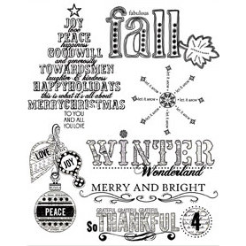 Autumn Leaves - Clear Stamps - Sande Krieger - Christmas - Tis The Season, CLEARANCE